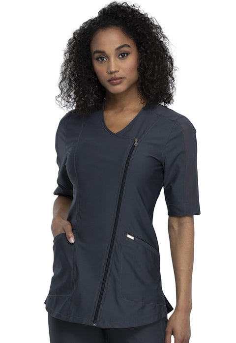 Cherokee Form by Cherokee Women's Asymmetrical Zip Front Tunic - CK842 - ScrubHaven