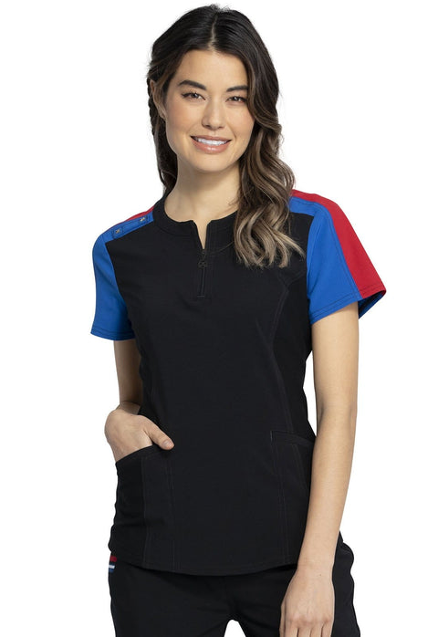 Cherokee Katie Duke Women's Zip Neck Top - CKK821 - ScrubHaven