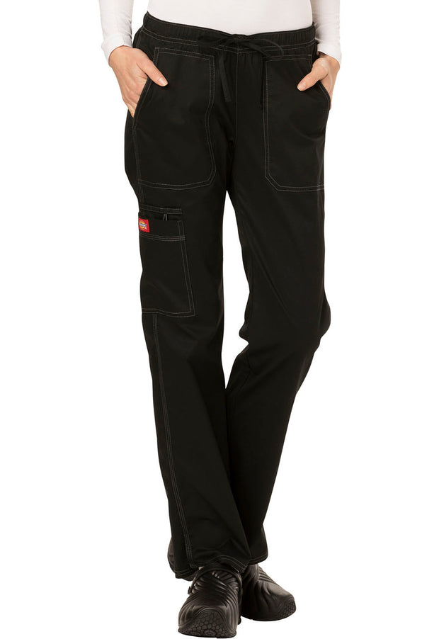 Dickies Gen Flex (Contrast) Women's Low Rise Straight Leg Drawstring Pant - DK100