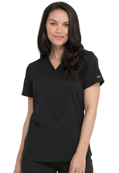 Dickies Balance Women's V-Neck Top With Rib Knit Panels - DK870