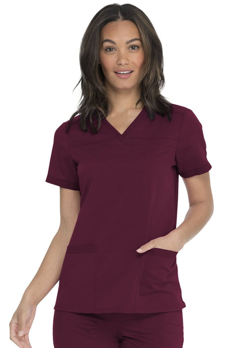 Dickies Balance Women's V-Neck Top With Rib Knit Panels - DK870 - ScrubHaven