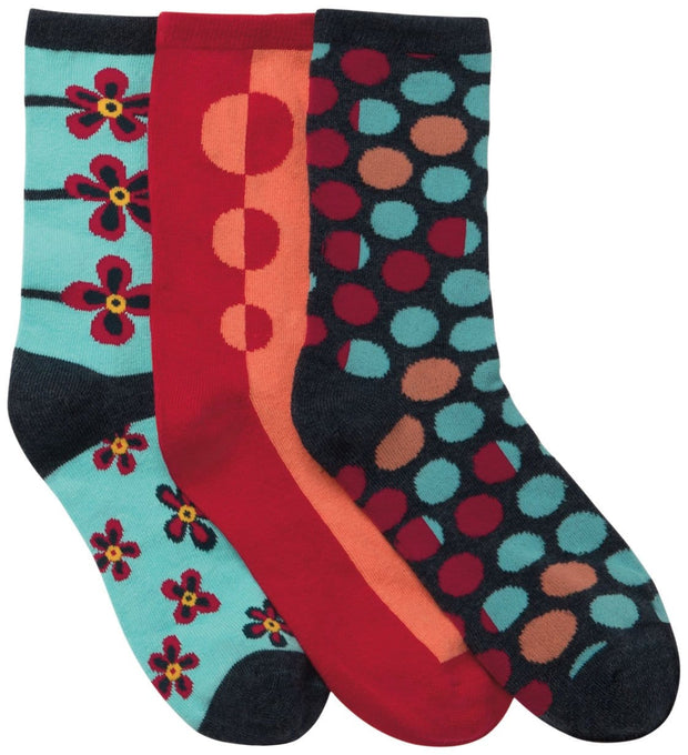 Cherokee   Women's 1-3pr pack of Crew Socks - DOTMYFLOWER - ScrubHaven