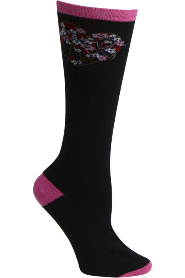 Heartsoul Breast Cancer Awareness Women's 1pr Pink Ribbon Knee High Sock - FLORALMYHEART - ScrubHaven