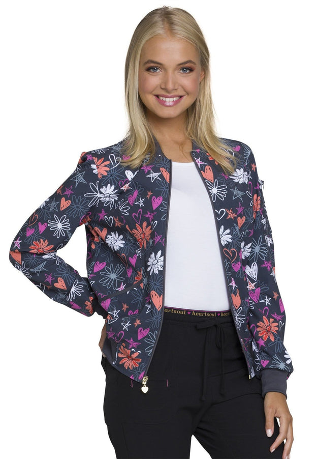 Heartsoul You're A Star Women's Zip Front Bomber Jacket - HS311 - ScrubHaven
