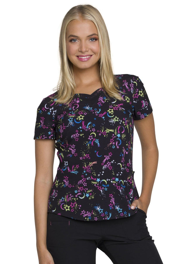 Heartsoul You're A Star Women's Sweetheart Neck Top - HS616 - ScrubHaven