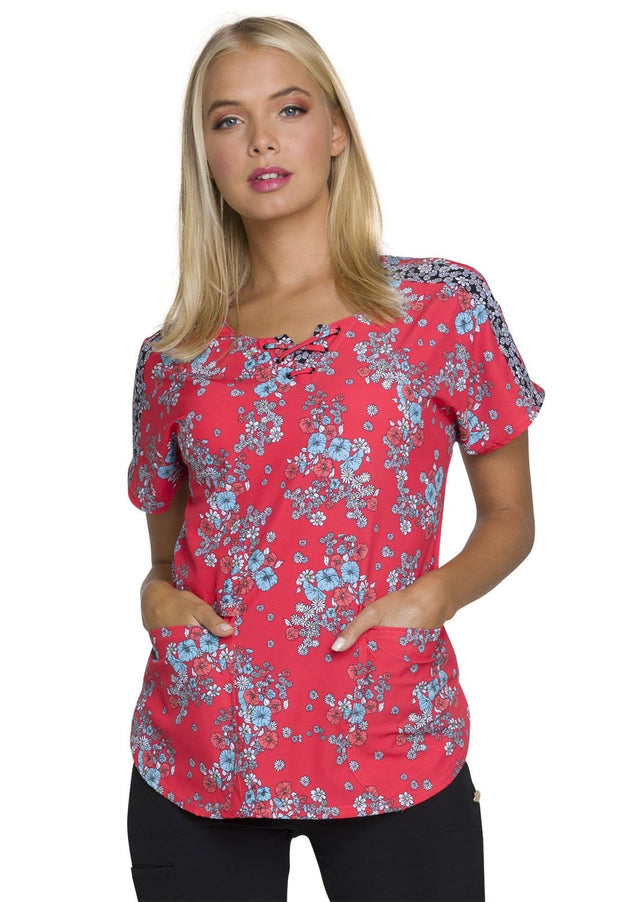 Heartsoul Mine Floral Ever Women's Round Neck Top - HS686 - ScrubHaven