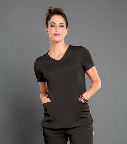 S101027 ROCK STAR - WOMENS SMITTEN V NECK TOP - ScrubHaven