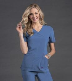 S101033<br> GLAM - WOMENS SMITTEN SURPLICE TUNIC TOP
