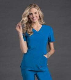 S101033 GLAM - WOMENS SMITTEN SURPLICE TUNIC TOP - ScrubHaven