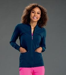 S303008 TOUR - WOMENS SMITTEN ZIP FRONT JACKET WITH RIB DETAIL - ScrubHaven