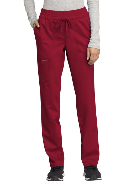 Cherokee Workwear WW Revolution Women's Mid Rise Tapered Leg Drawstring Pant - WW105P  Petite - ScrubHaven