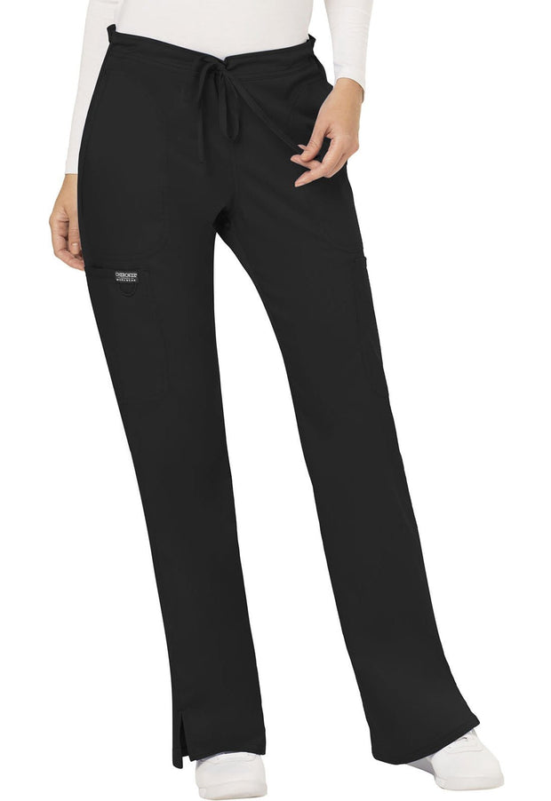 Cherokee Workwear WW Revolution Women's Mid Rise Moderate Flare Drawstring Pant - WW120P  Petite - ScrubHaven