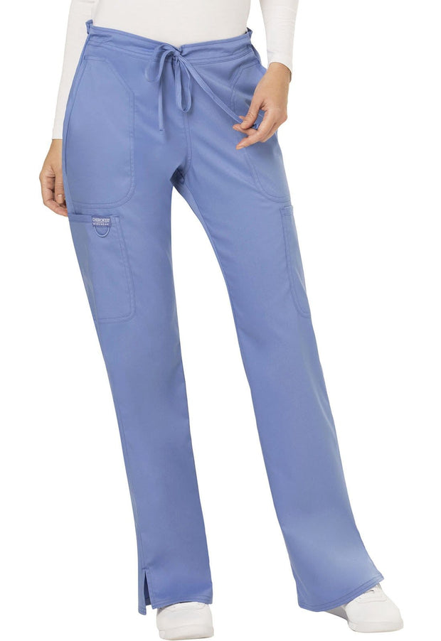 Cherokee Workwear WW Revolution Women's Mid Rise Moderate Flare Drawstring Pant - WW120T  Tall - ScrubHaven