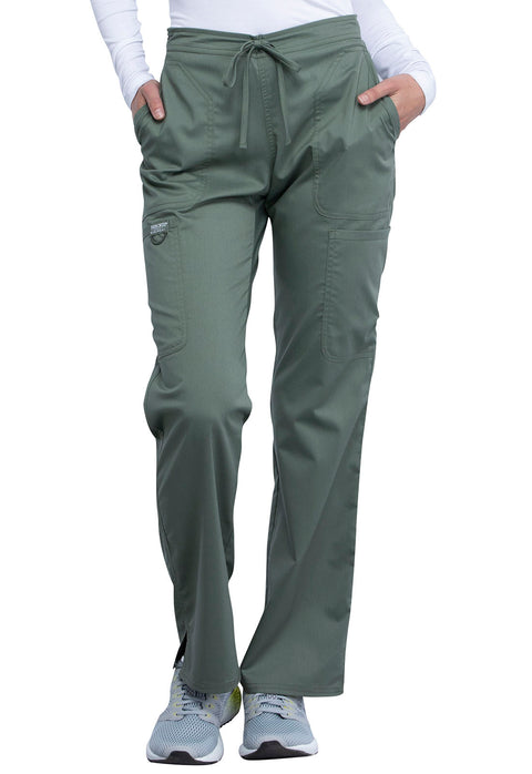 Cherokee Workwear WW Revolution Women's Mid Rise Moderate Flare Drawstring Pant - WW120T  Tall