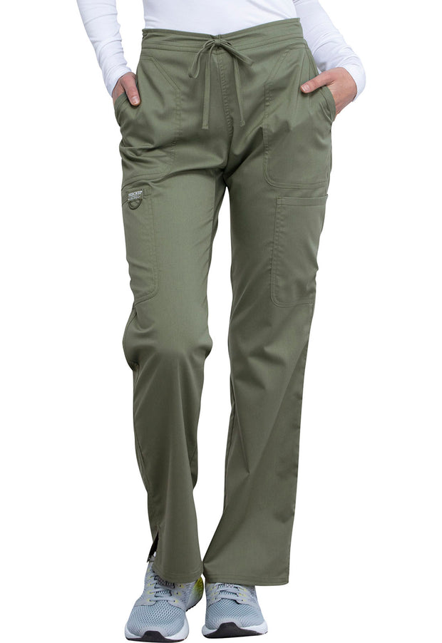 Cherokee Workwear WW Revolution Women's Mid Rise Moderate Flare Drawstring Pant - WW120