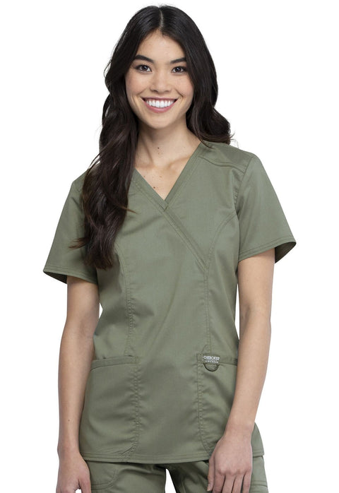 Cherokee Workwear WW Revolution Women's Mock Wrap Top - WW610 - ScrubHaven