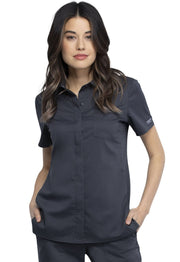Cherokee Workwear WW Revolution Women's Hidden Snap Front Collar Shirt - WW669 - ScrubHaven