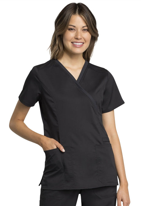Cherokee Workwear WW Revolution Tech Women's Mock Wrap Top - WW775AB - ScrubHaven