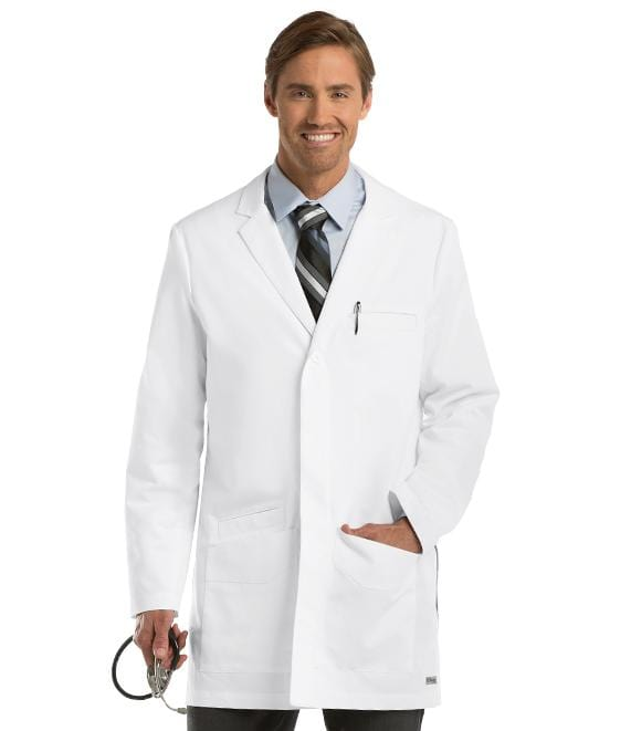 "Greys Anatomy Men's 6 Pocket 35"" Side Vent Lab Coat - 0917 - ScrubHaven"