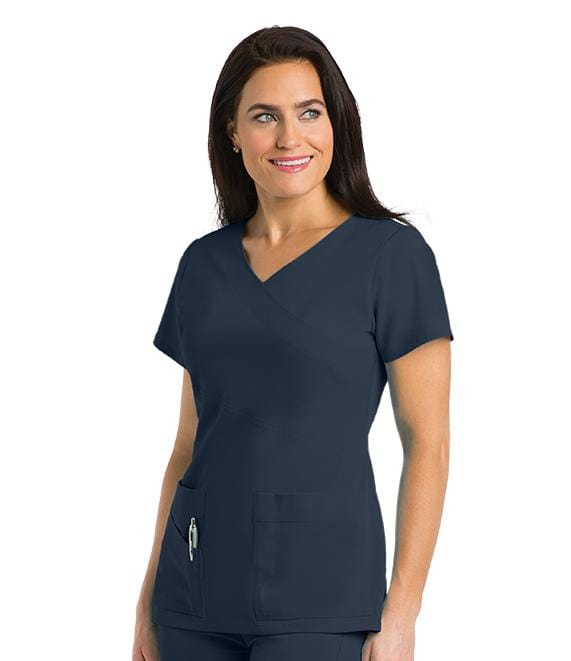 Greys Anatomy Signature Women's 3 Pocket Mock Wrap With Pda Pocket - 2130 - ScrubHaven