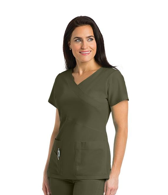 Greys Anatomy Signature Women's 3 Pocket Mock Wrap With Pda Pocket - 2130X - ScrubHaven