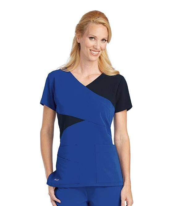 Greys Anatomy Signature Women's 3 Pocket Color Block Mock Wrap - 2140 - ScrubHaven