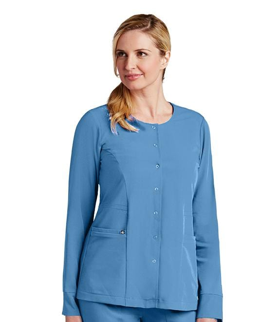 Greys Anatomy Signature Women's 2 Pocket Jewel Neck Snap Front Warmup - 2407X - ScrubHaven
