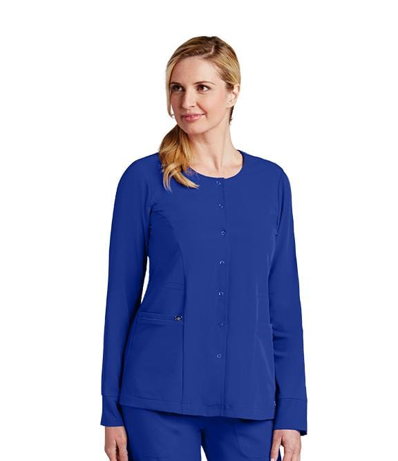 Greys Anatomy Signature Women's 2 Pocket Jewel Neck Snap Front Warmup - 2407 - ScrubHaven