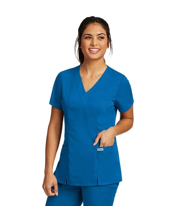 Greys Anatomy Women's 2 Pocket Mock Wrap Princess - 41101X - ScrubHaven