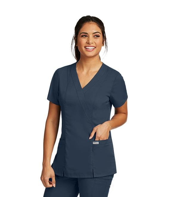 Greys Anatomy Women's 2 Pocket Mock Wrap Princess - 41101 - ScrubHaven
