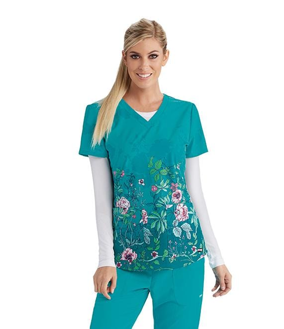 Greys Anatomy Women's 2 Pocket V-Neck Fash Back Detail - 41386 - ScrubHaven