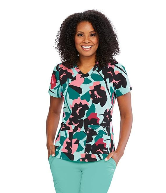 Greys Anatomy Women's 2 Pocket V-Neck Fash Back Detail - 41386X - ScrubHaven