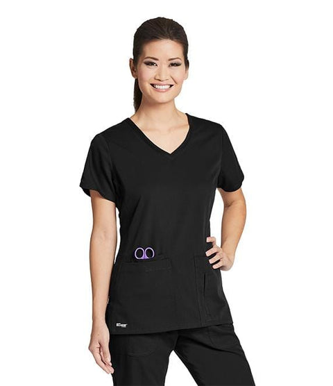 Greys Anatomy Active Women's 4 Pocket Solid Side Panel V-Neck - 41423X - ScrubHaven