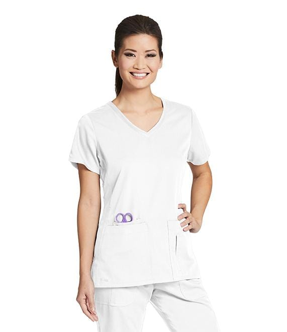 Greys Anatomy Active Women's 4 Pocket Solid Side Panel V-Neck - 41423 - ScrubHaven