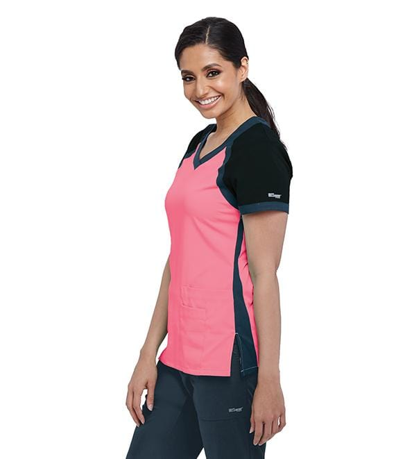 Greys Anatomy Active Women's 3 Pocket Raglan Scuba V-Neck - 41435X - ScrubHaven