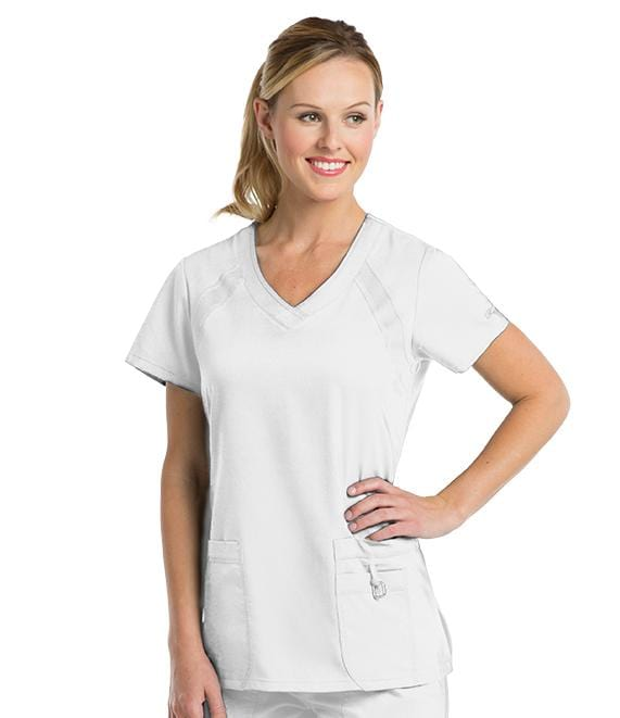 Greys Anatomy Active Women's 3 Pocket V-Neck Knit Raglan Inset - 41447 - ScrubHaven