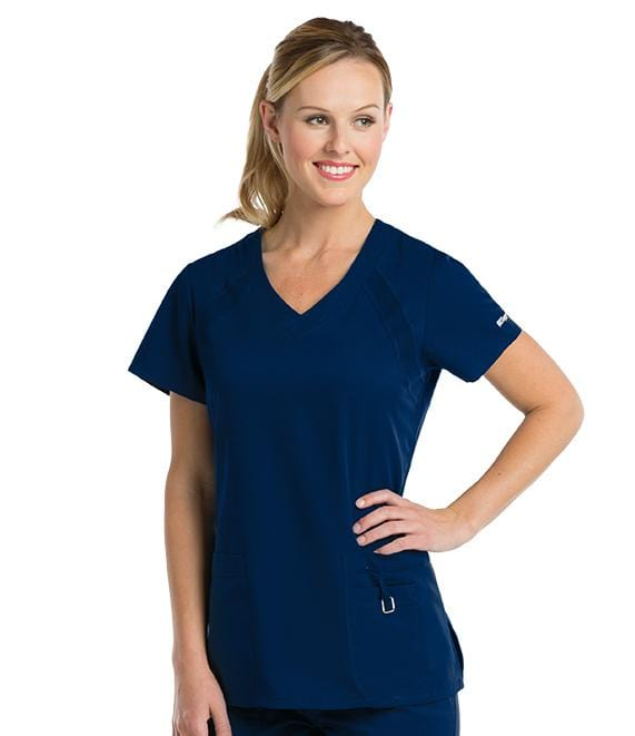 Greys Anatomy Active Women's 3 Pocket V-Neck Knit Raglan Inset - 41447X - ScrubHaven
