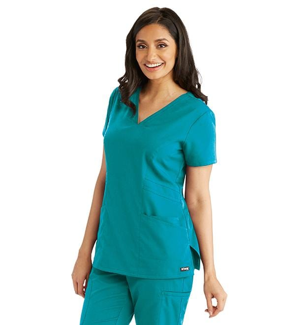 Greys Anatomy Women's 3 Pocket Stylized Princess V-Neck - 41452X - ScrubHaven