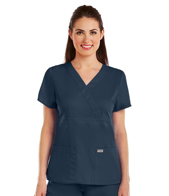 Greys Anatomy Women's 3 Pocket Mock Wrap - 4153X - ScrubHaven