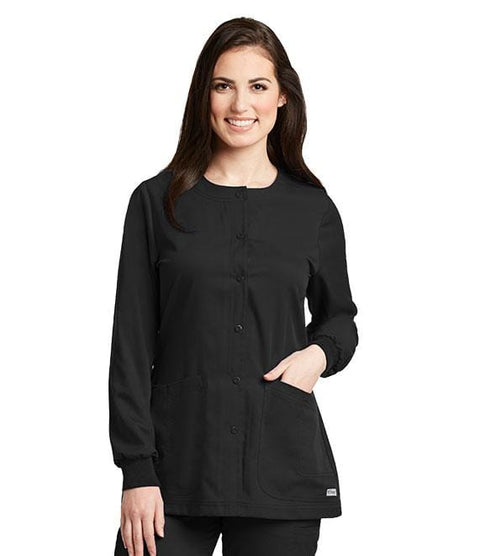 Greys Anatomy Women's 4 Pocket Round Neck Cuffed Warm Up - 4450X - ScrubHaven