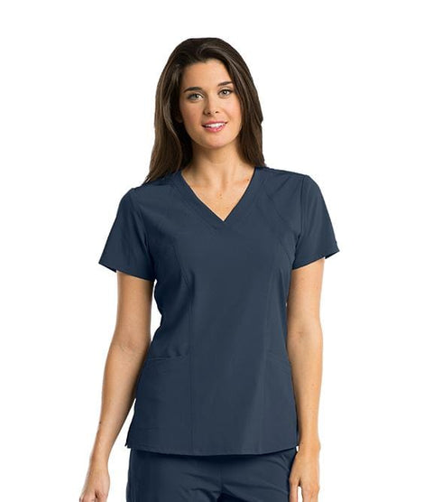 Barco One Women's 4 Pocket V-Neck Princess Perforated Panel - 5105 - ScrubHaven