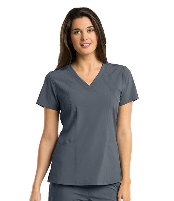 Barco One Women's 4 Pocket V-Neck Princess Perforated Panel - 5105X - ScrubHaven