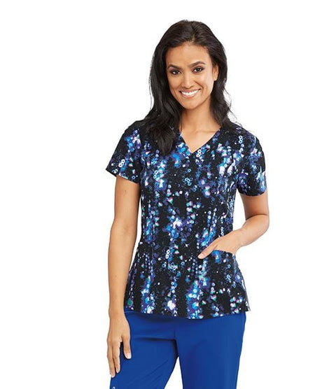 Barco One Women's 4 Pocket Printed V-Neck Princess - 5107X - ScrubHaven