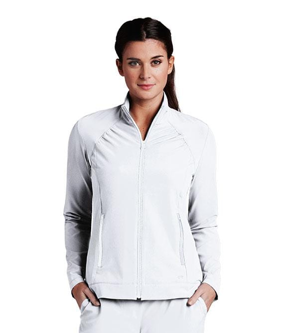 Barco One Women's 2 Pocket Shirred Yoke Princess Crew Neck Zip Jacket - 5405 - ScrubHaven