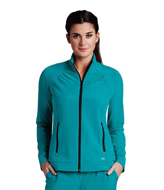 Barco One Women's 2 Pocket Shirred Yoke Princess Crew Neck Zip Jacket - 5405X - ScrubHaven