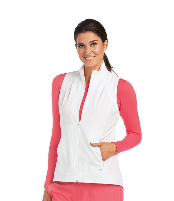 Barco One Women's 2 Pocket Shirred Princess Zip Vest - 5406 - ScrubHaven