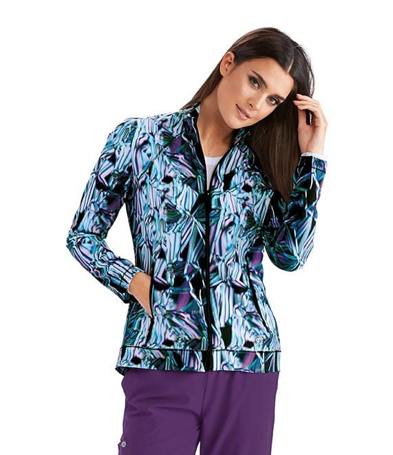 Barco One Women's 2 Pocket Shirred Printed Zip Jacket - 5408 - ScrubHaven