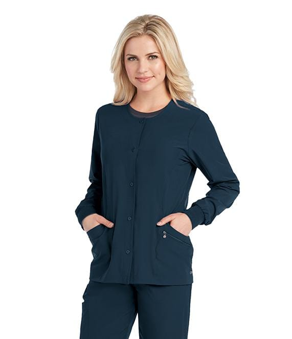 Barco One Women's 4 Pocket Perforated Princess Warm Up - 5409X - ScrubHaven