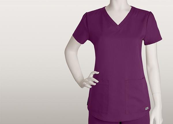 Greys Anatomy Women's 2 Pocket V-Neck Shirred Back - 71166 - ScrubHaven