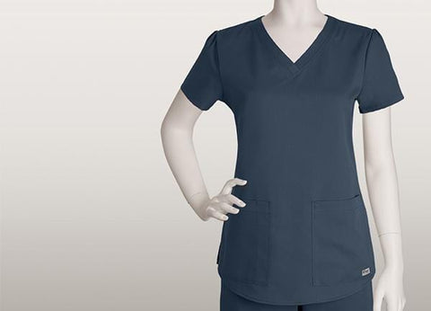 Greys Anatomy Women's 2 Pocket V-Neck Shirred Back - 71166X - ScrubHaven